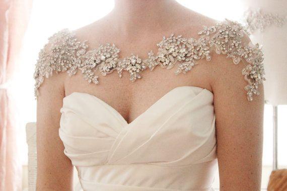 Свадьба - Crystal Bridal Bolero, Rhinestone Wedding Statement Necklace, Shoulder Necklace, Style Grace