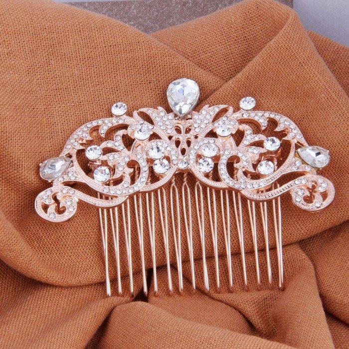 Свадьба - Wedding Vines Bridal Hair Comb Rose Gold Art Deco
