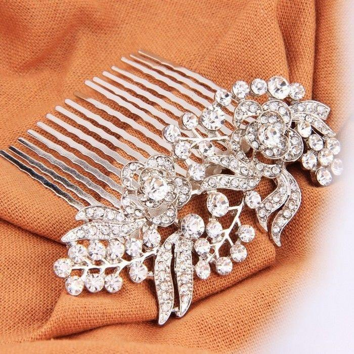 Hochzeit - Crystal Bridal Hair Comb Rose Flower Silver
