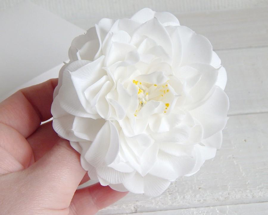 Flower hair clip wedding barrette big white flower large flowers flower hair clip wedding barrette big white flower large flowers bridesmaid gift camelia hair clamp floral headpiece bridal hairpiece 2400 usd mightylinksfo