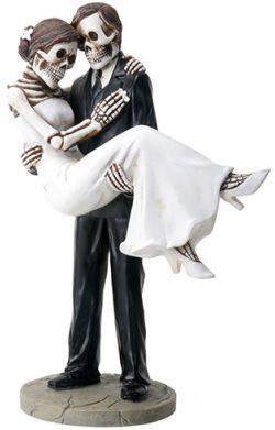 Wedding - Halloween Groom carries Bride True Love Never Dies Gothic Wedding Cake Toppers-Hand Painted Romantic Skeleton Couple Figurines-TLND1