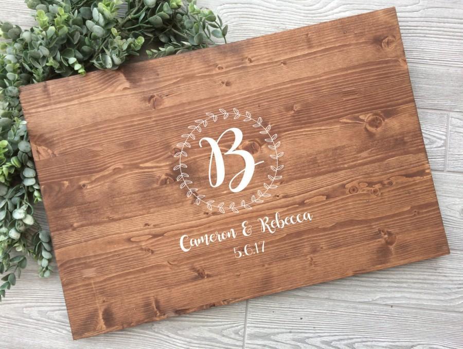 Wedding - Rustic Wedding Guest Book Alternative, Wreath Laurel Names Guest Book Alternative, Rustic Chic Wood Wedding Sign,