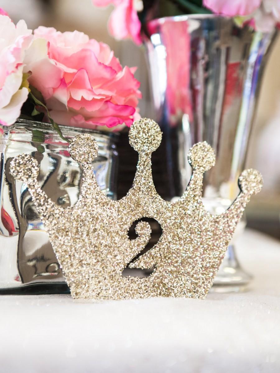 Mariage - Princess Birthday Sign in Glitter - Girls Princess Birthday Decor, Crown in Glitter First, Second, Etc.( Item - LCR100 )