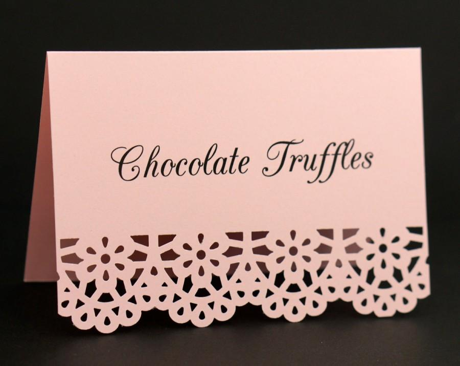 blush pink food signs food place cards food labels tent cards