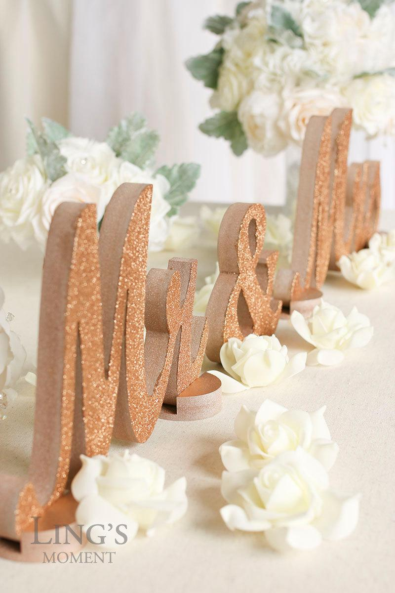 Rose gold glitter mr and mrs letters wedding decorations for Decoration rose gold