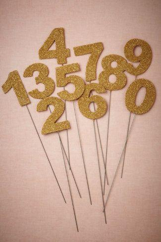 Boda - Glittered Number Stakes