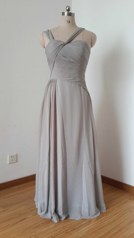 Hochzeit - Straps Light Grey Chiffon Floor-length Long Bridesmaid Dress