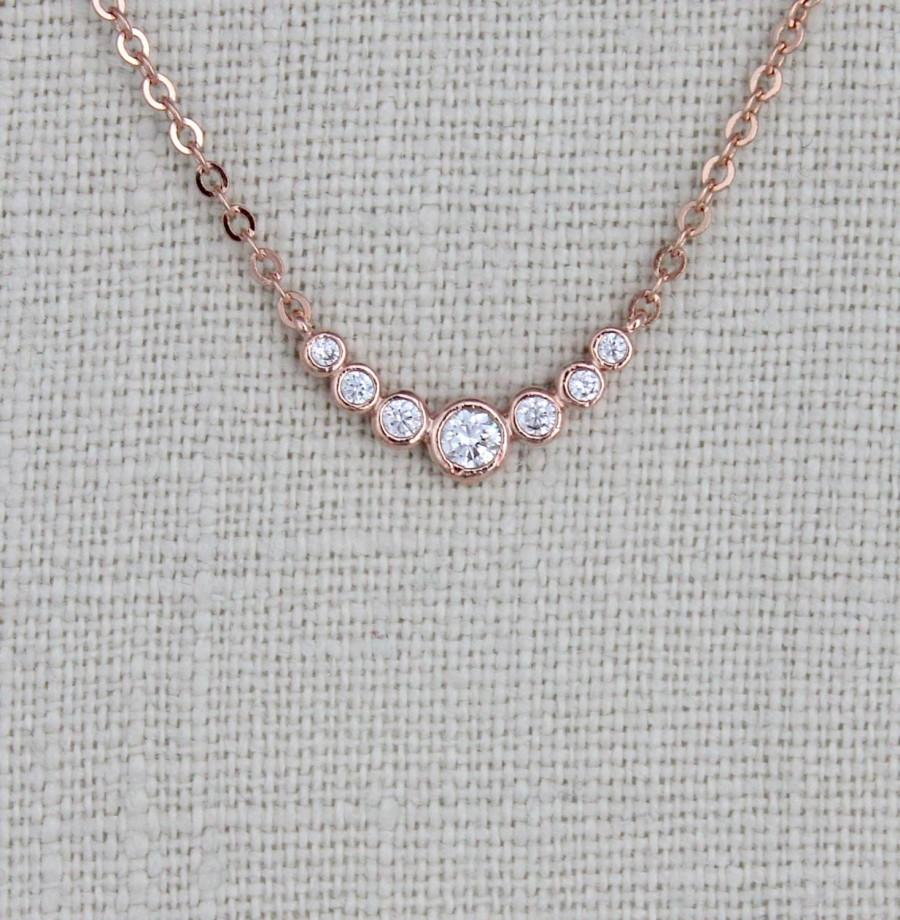 Dainty Rose Gold Necklace Bridesmaid Necklace Rose Gold Charm Necklace Layering Jewelry Simple Bridal Necklace Delicate Necklace 2692008 Weddbook