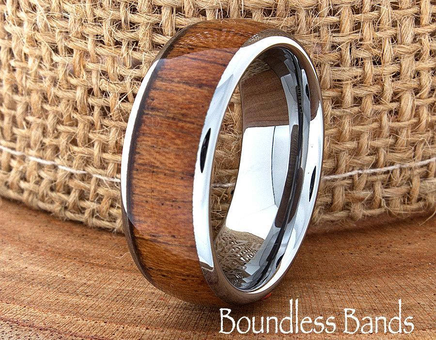 Wedding - Titanium Wood Wedding Ring Anniversary Engagement Ring Customized Titanium Band Mens Wood Wedding Ring Free Laser Engraving 8mm Comfort Fit