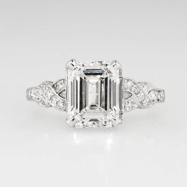 Wedding - Sensational 1930's Art Deco 2.90ct T.w. Emerald Cut Diamond Filigree Engagement Wedding Ring Platinum