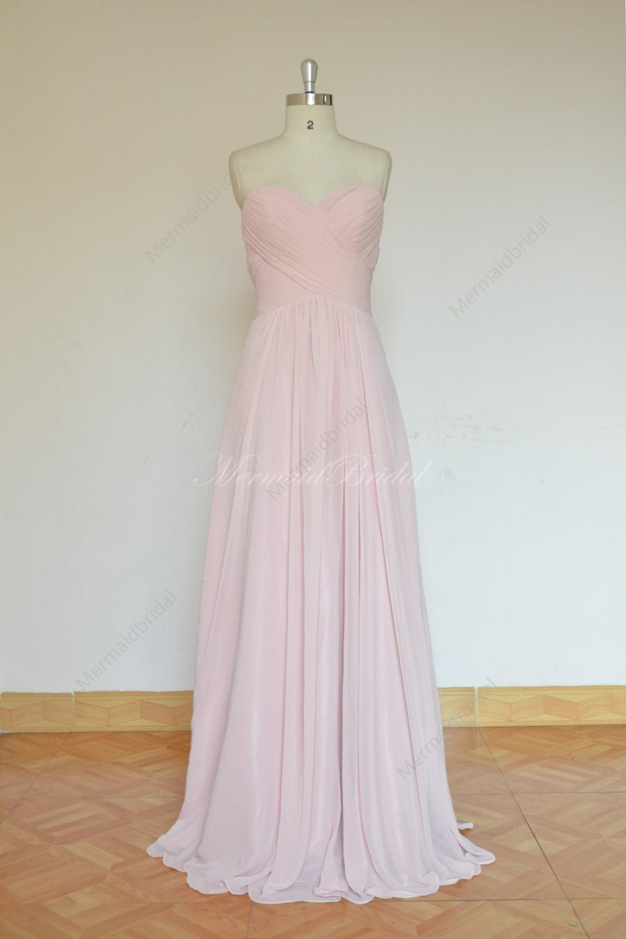 Wedding - Simple blush pink prom dress, bridesmaid dress with sweetheart neckline