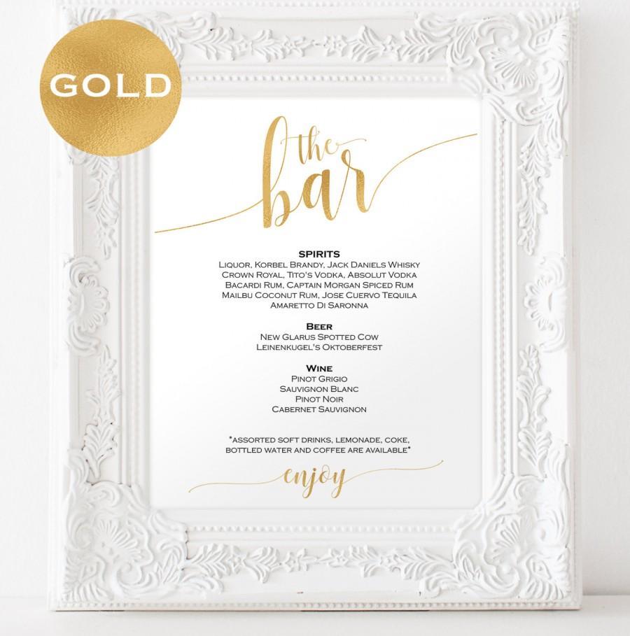 Gold Bar Menu Wedding - Bar Menu Sign - Drinks Sign - Bar Menu ...