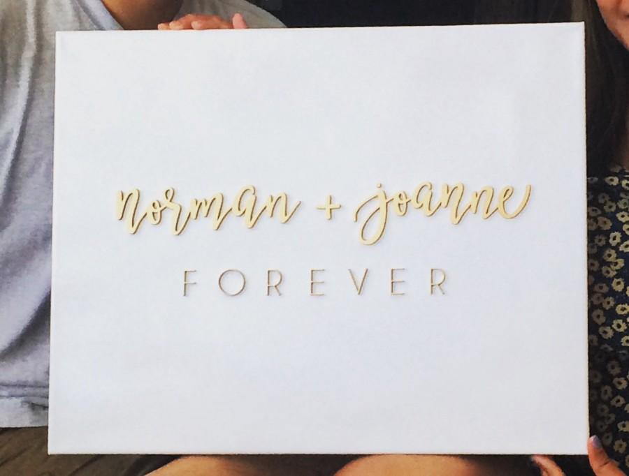 Mariage - Personalize Custom Canvas Wood Name Signs 16in x 20in - Personalized Canvas Guest Book Wedding Gift Unique Personalise Laser Cut Sign