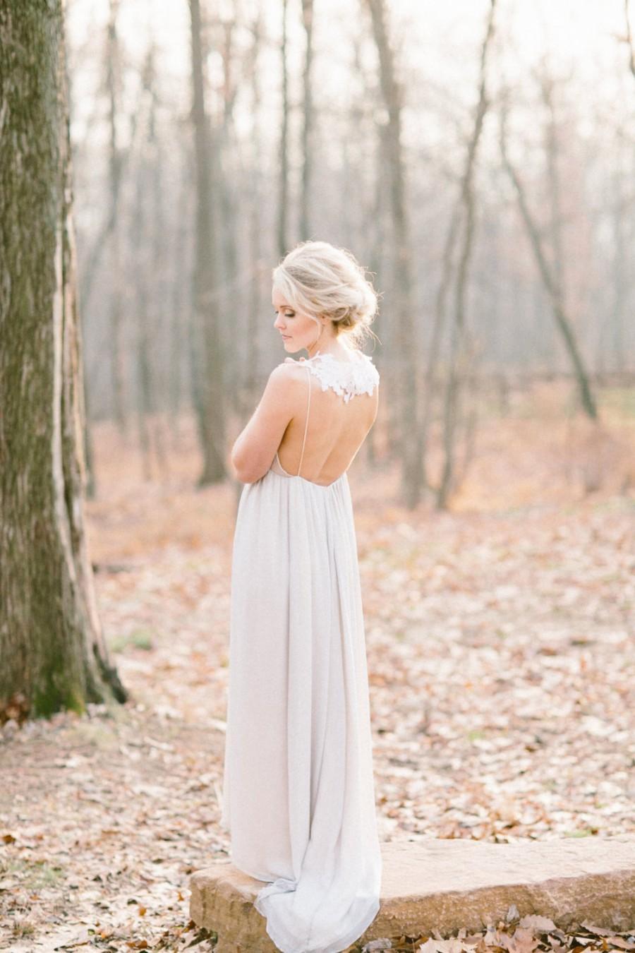 Low Back Chiffon Wedding Dress, Silk Chiffon And Lace Wedding Gown ...
