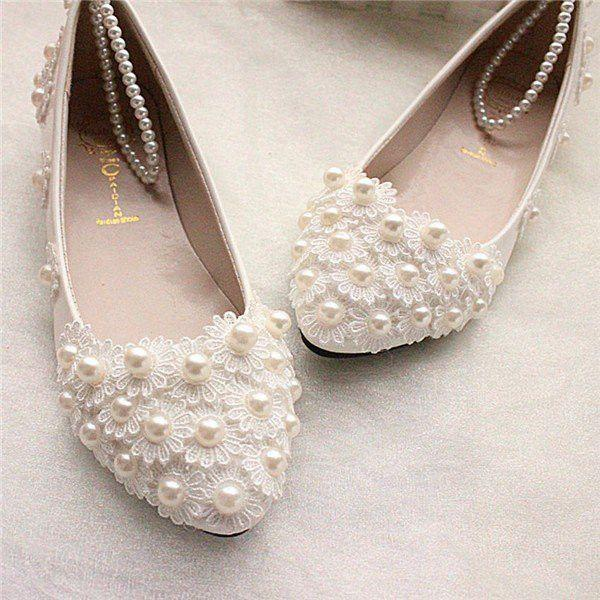 Свадьба - Wedding Lace White Bead Pearl Flower Bridals Flat Shoes