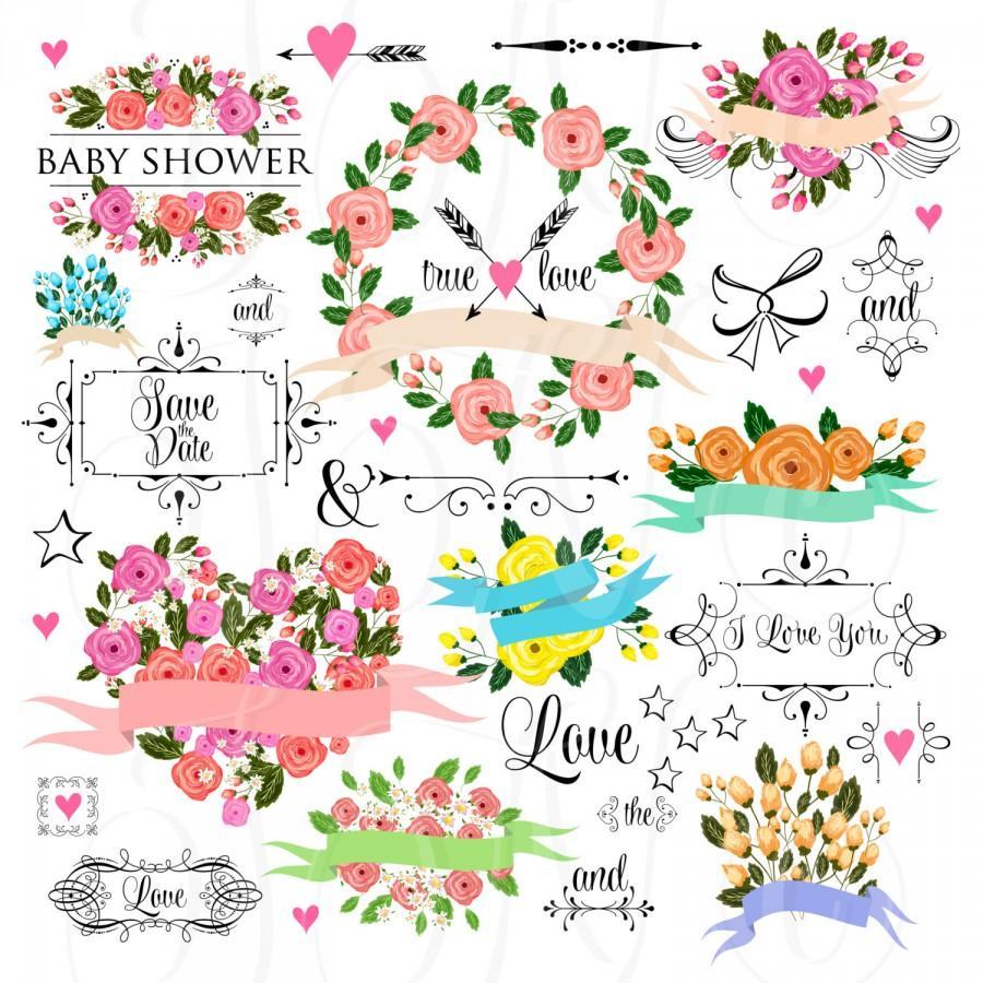 Mariage - 66 unique Wedding Floral clipart, Digital Wreath, Frames, Flowers, Arrows Clip art scrapbooking, Invitations, Ribbons, Banners, Heart - $5.00 USD