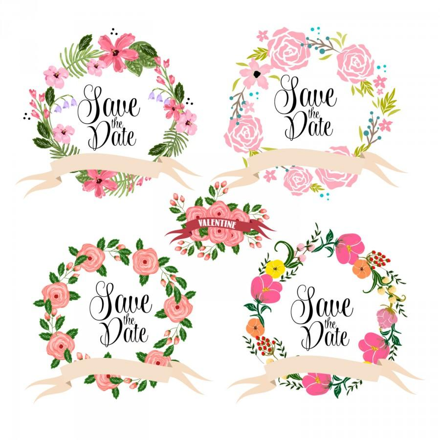 Свадьба - Wreaths Floral clipart, Digital Wreath, Floral Frames, Flowers, Arrows Clip art for scrapbooking, wedding invitations, Small Commercial Use - $5.00 USD