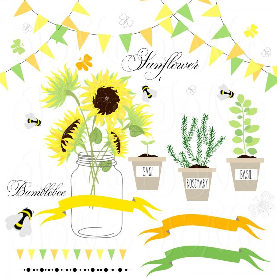 Sunflowers, Mason Jars,digital Papers - Clip Art For Scrapbooking ...