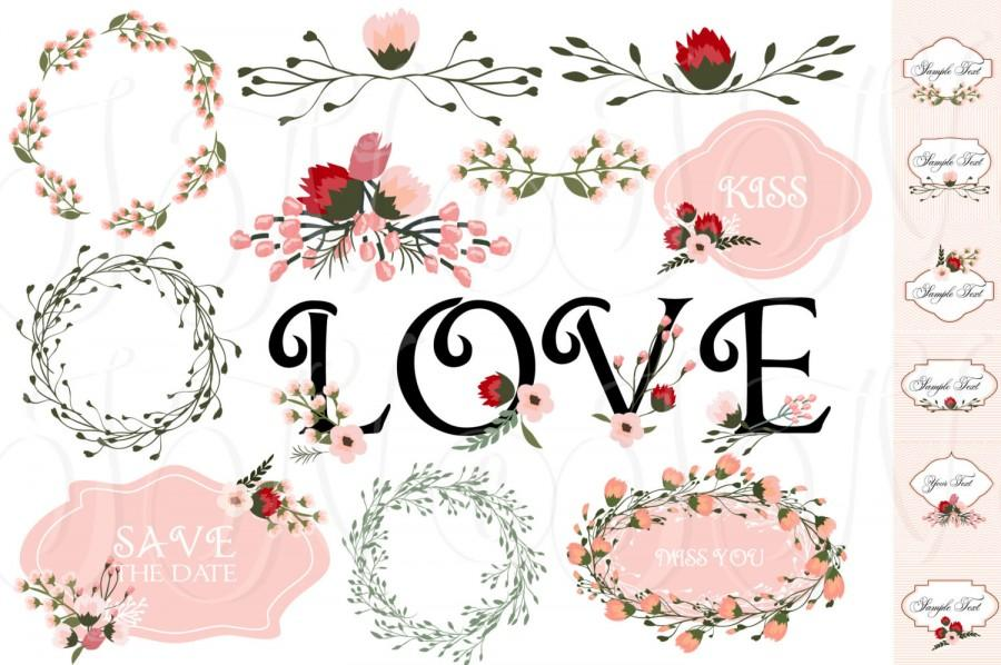 27 Hand Drawn Flowers, Card Template And Digital Papers, Clip Art ...