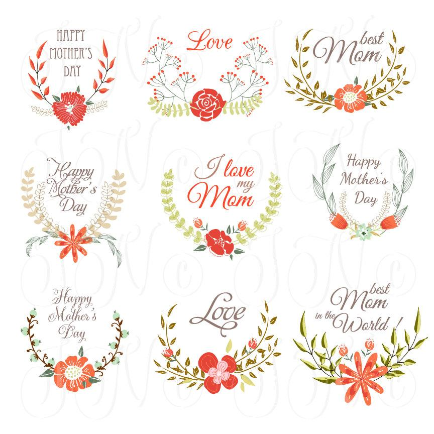 Wedding - Hand Drawn Floral wreath for Mather's day, card template, Clip art for scrapbooking, wedding invitations, Personal and Small Commercial Use - $0.99 USD
