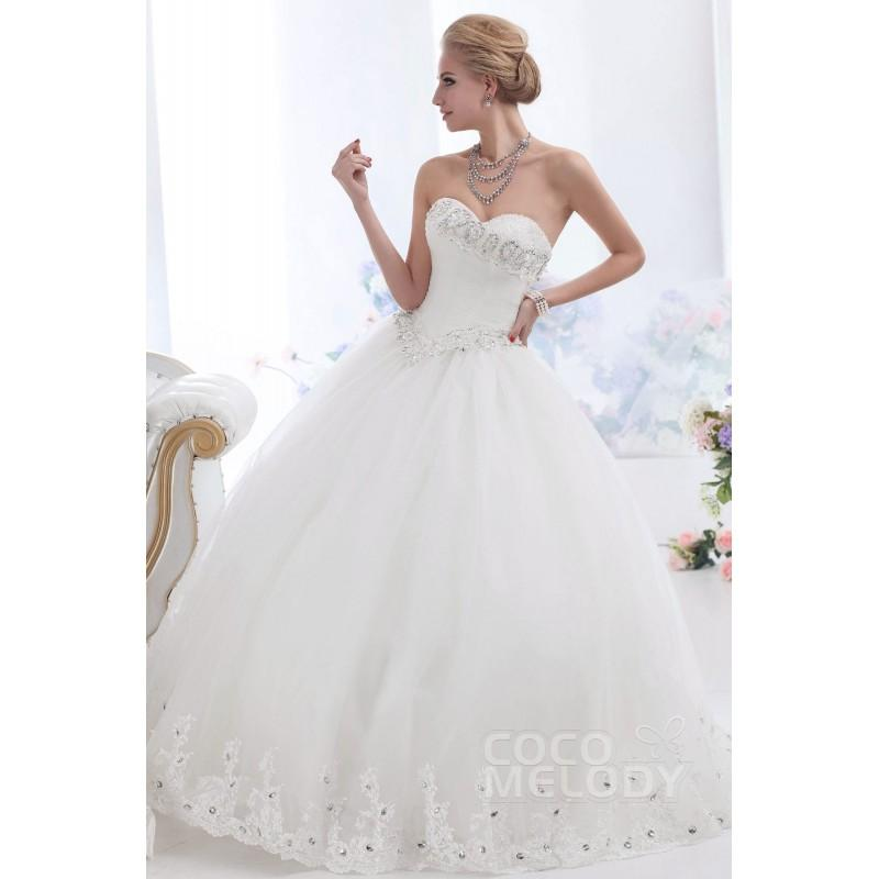 Wedding - Grand Ball Gown Sweetheart Basque Waist Floor Length Tulle Wedding Dress CWUF13003 - Top Designer Wedding Online-Shop