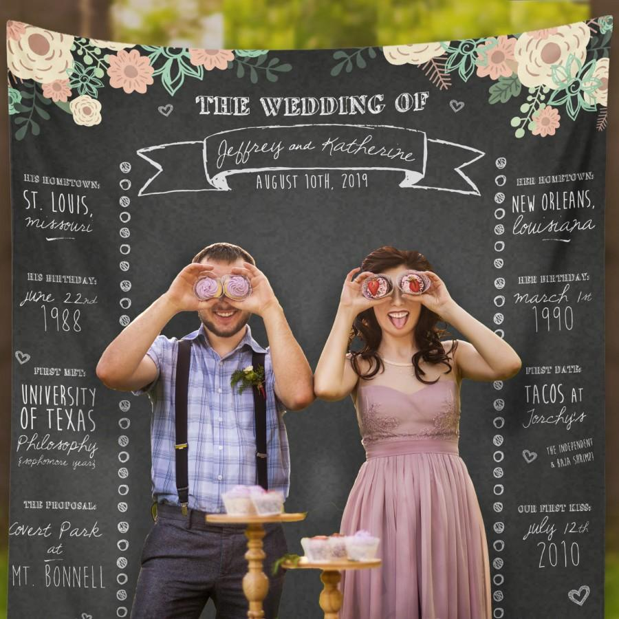 Custom Wedding Photo Booth Chalkboard Backdrop Banner Step And Repeat W G26 TP REG1 HH7
