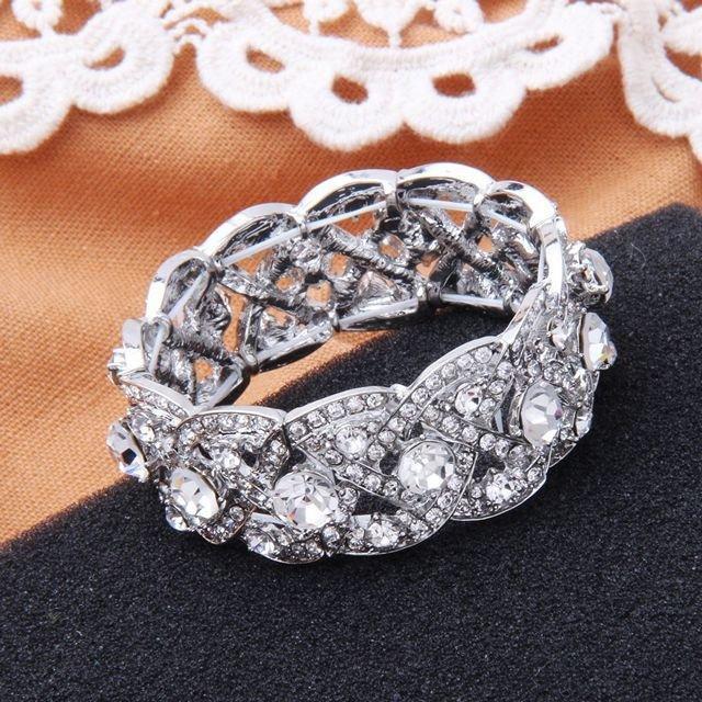 Mariage - Art Deco Vintage Rhinestone Bridal Bracelet Stretch Silver