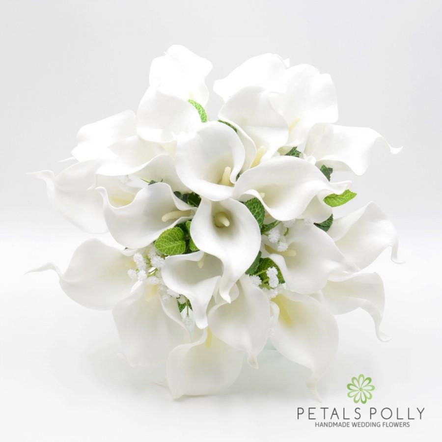 Mariage - Artificial Wedding Flowers, White Calla Lily Brides Bouquet Posy