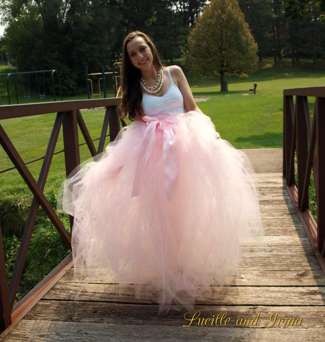 Light pink women 39 s full length tutu with slip pale pink for How to make a long tulle skirt for wedding dress