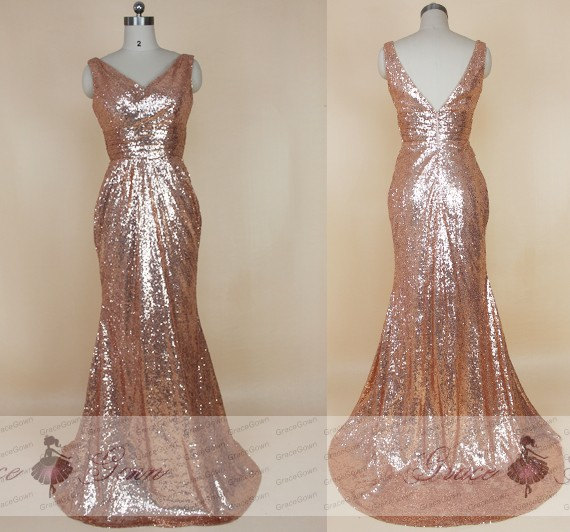 Sequin Bridesmaid Dresses 2017 Rose Gold Dress Sparkly Mermaid Y V Back Evening Prom Long