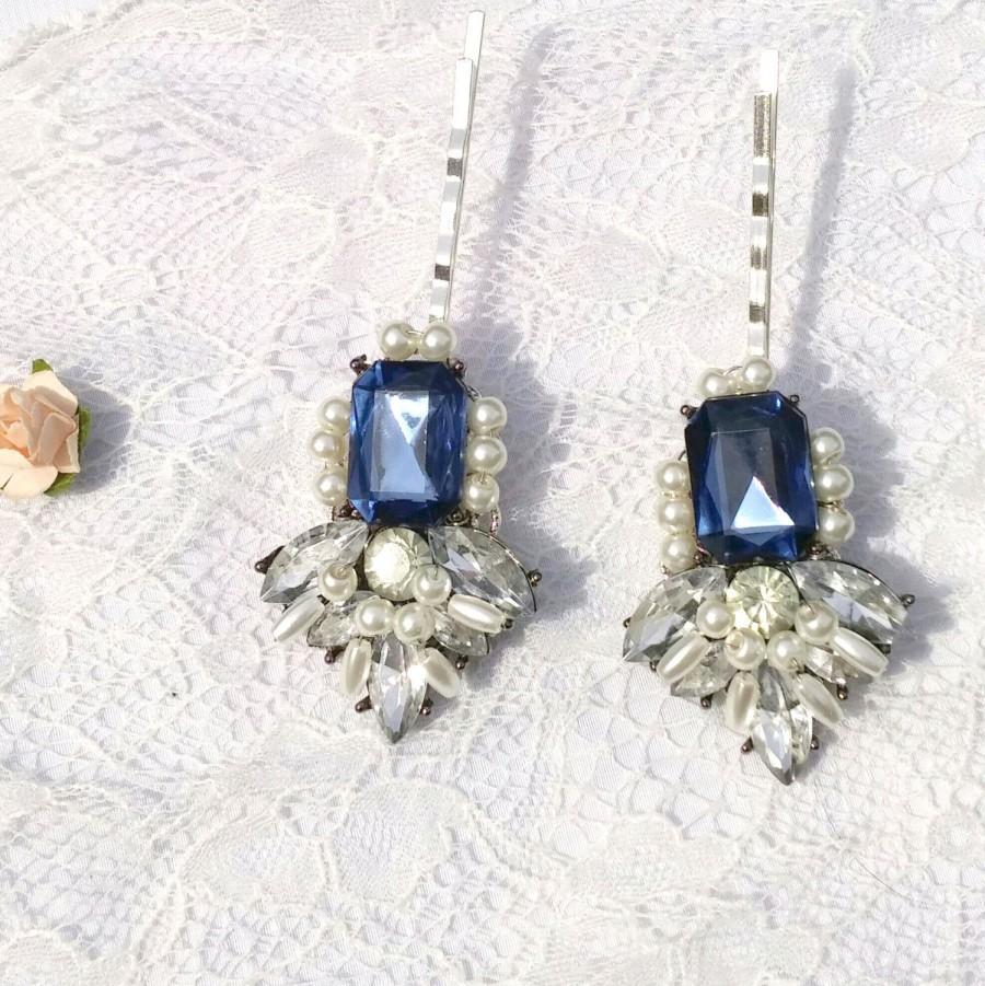زفاف - Amethyst blue hair pin, jewel hair pin, pearl wedding hair piece, blue bridal pin, blue hair pin, Vintage headpiece