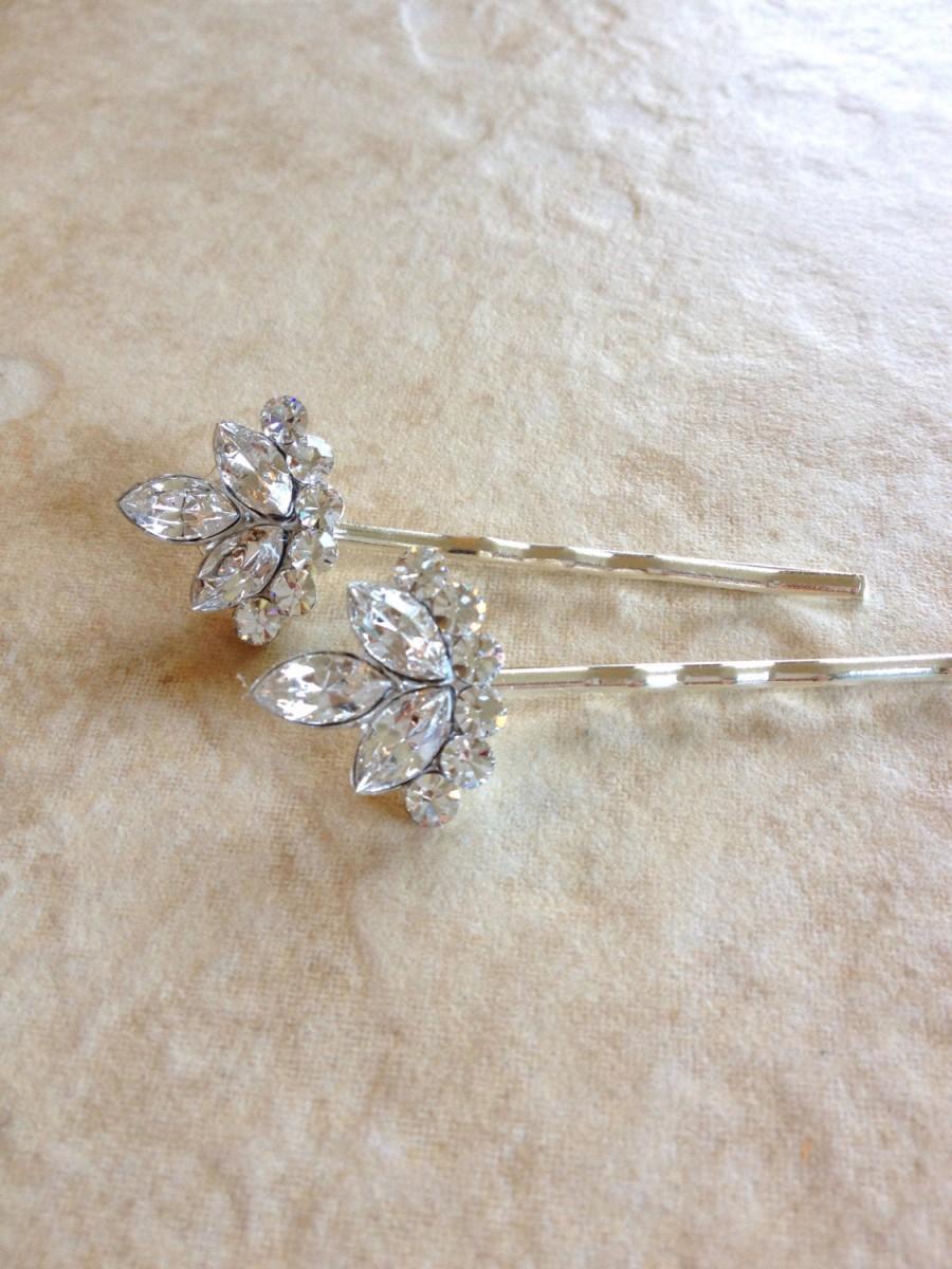 Wedding - Swarovski Crystal hair pins, rhinestone, set, pair, gift, hair, accessory, rustic, wedding, rhinestone, gold, bridesmaid, hair, vintage