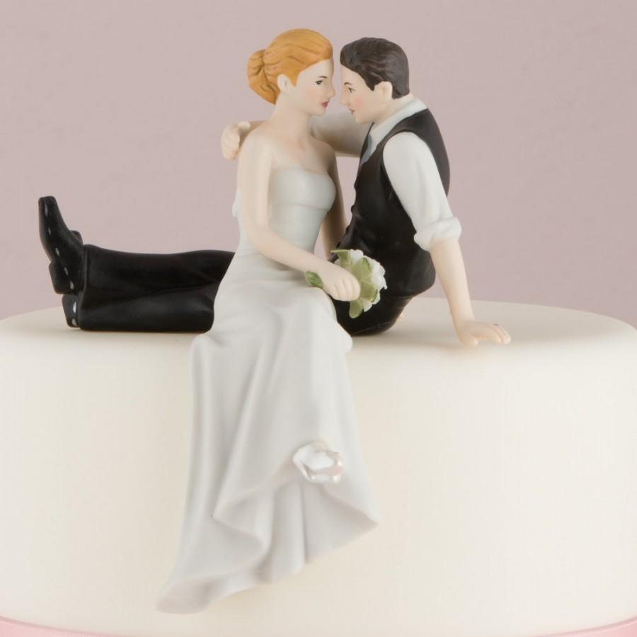 Mariage - Customized Look of Love Sitting Wedding Bride Groom Couple Cake Topper Personalized Hair Color Romantic Gift Traditional Romance Vest
