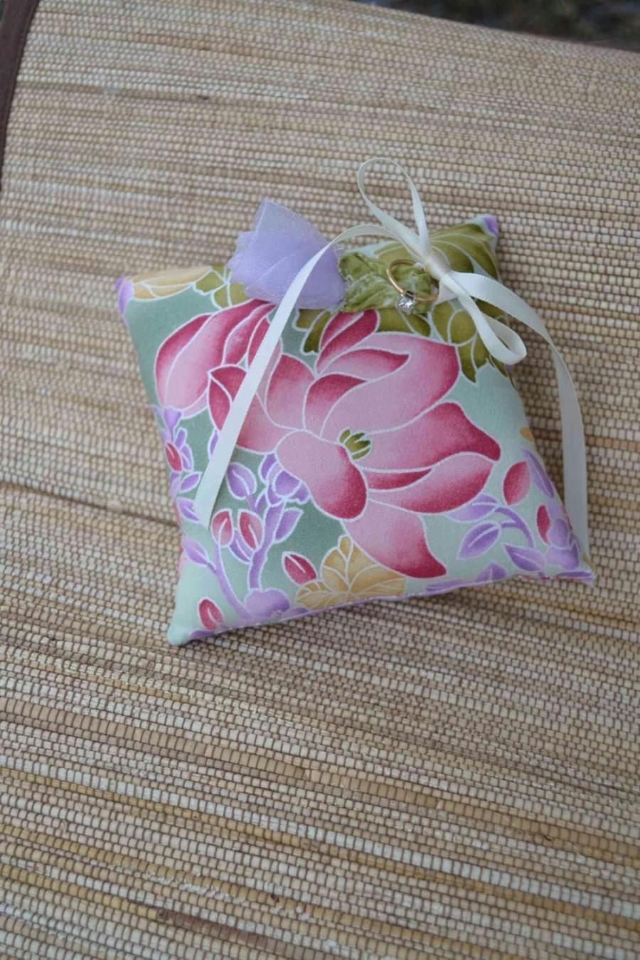 Свадьба - Wedding Ring Pillow Zen Garden Fabric Lavender Organza flower rose ivory ring bearer floral cotton Spring Summer Asian Marriage lotus