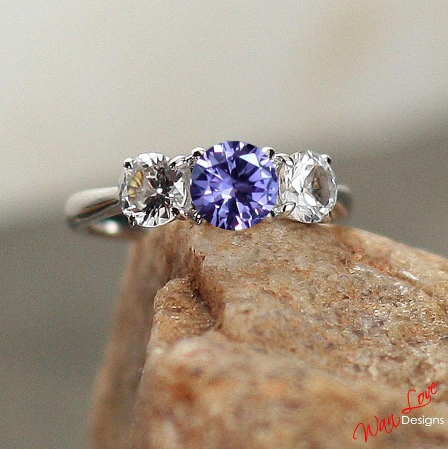 Hochzeit - Alexandrite Color Change & White Sapphire Round Engagement Ring Round 1ct 6mm 5mm 14k 18k White Yellow Rose Gold Platinum Custom Anniversary