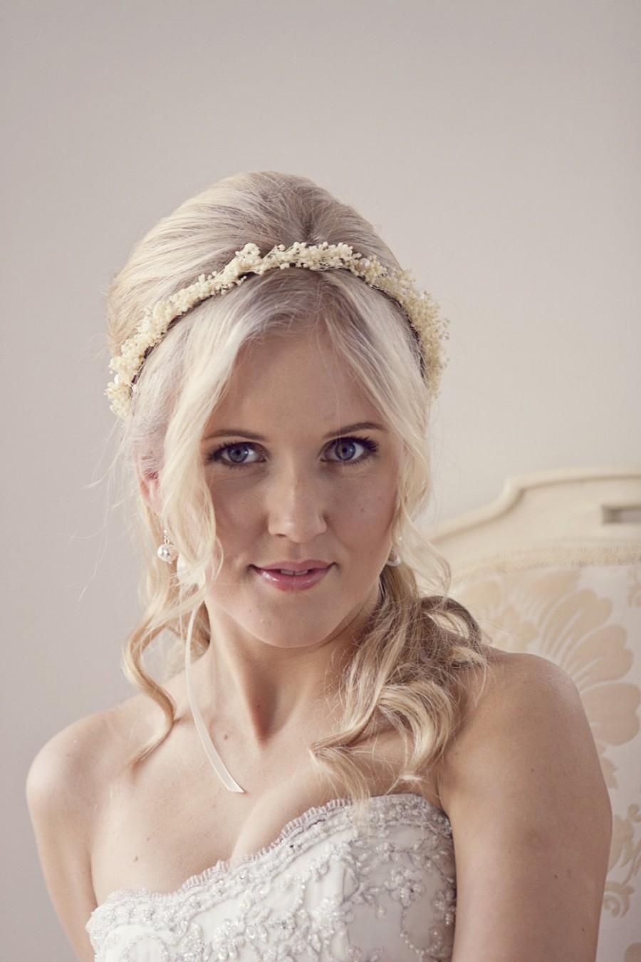 Babys Breath Flower Crown Ivory Floral Bridal Headpiece Wedding