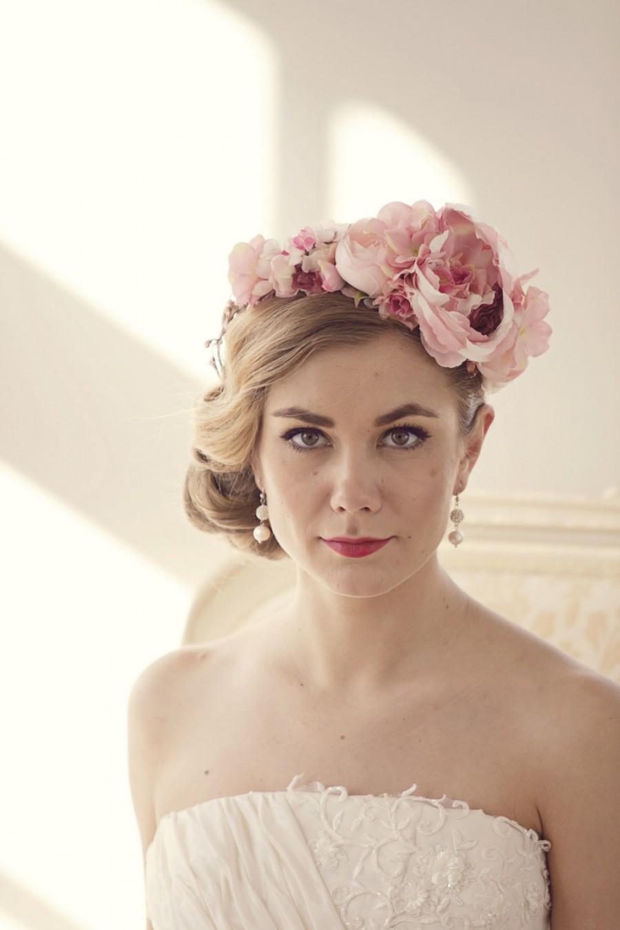 Pink Flower Crown Bridal Floral Crown Flower Headband Flower