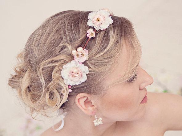 Свадьба - Pink flower crown, rustic head wreath, wedding headband, bridal hair, wedding crown, Rose gold wedding, style **Christina**