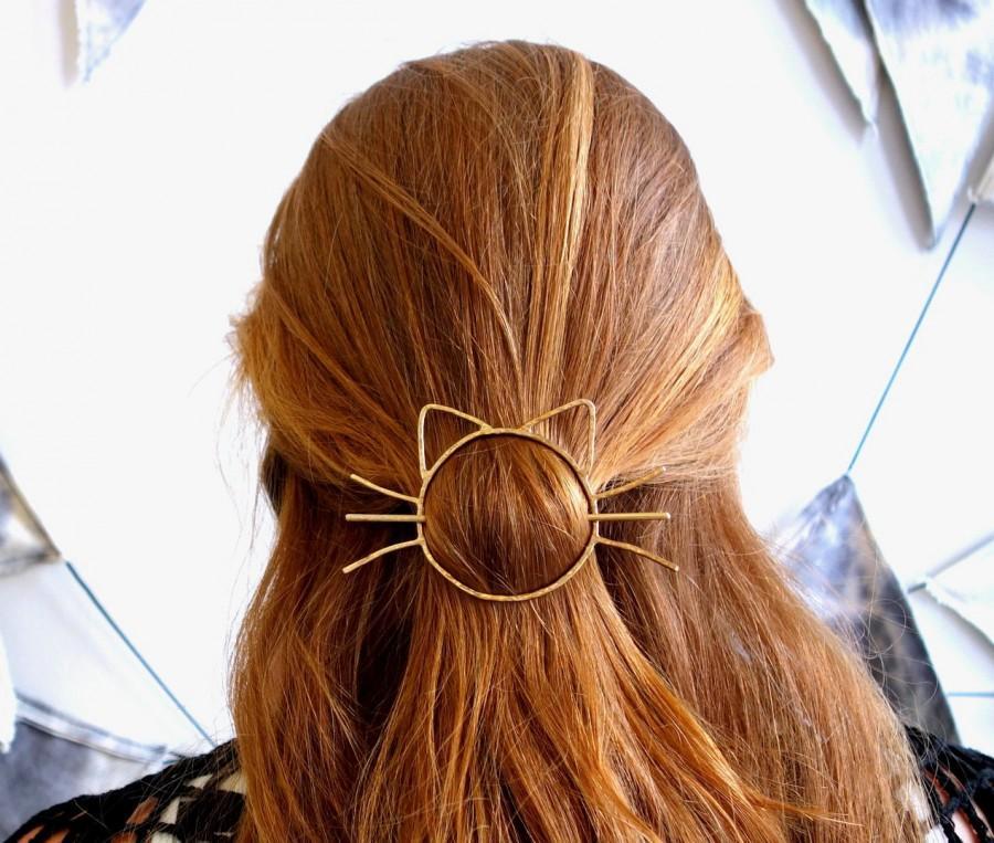 Hochzeit - Cat Bun Pin Hair Clip Brass Barette Handmade Cat Whiskers Bun Slide