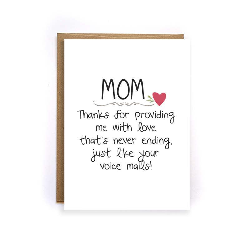 Mothers Day Card Floral Funny Thank You Mom Card Unique Mothers – Birthday Cards for Moms from Daughter