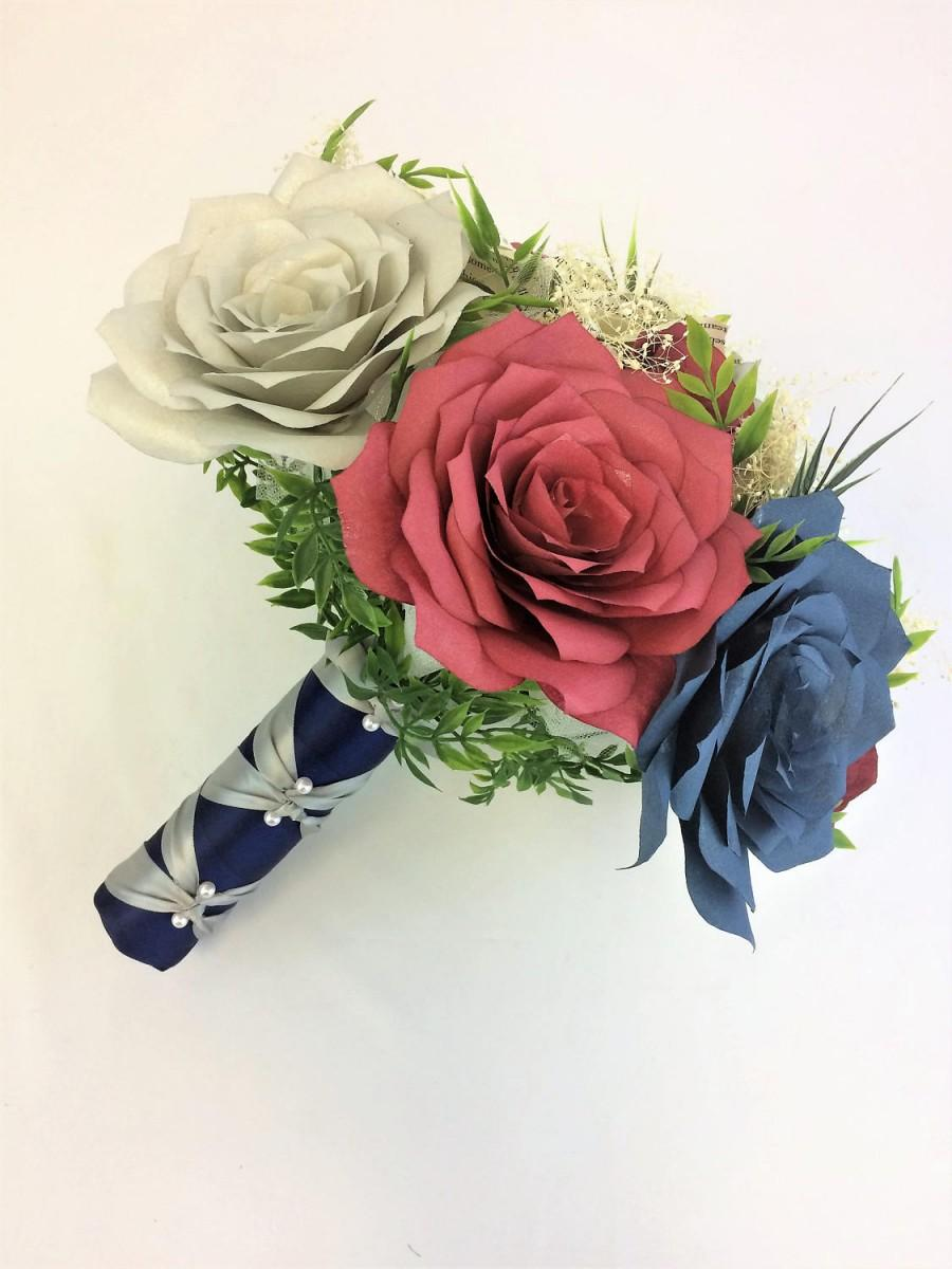 Wedding - Burgundy, navy blue and silver bouquet using handcrafted paper flowers, Book page flower bouquet - $58.00 USD