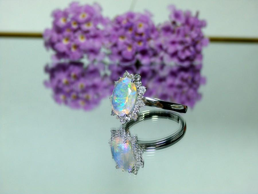 Mariage - Opal Ring, Opal and Diamond Ring, 14kt, CUSTOM ORDER