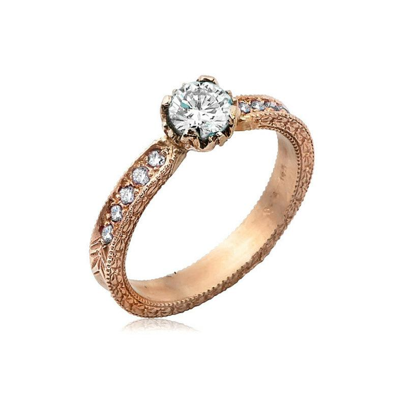 Mariage - Rose Gold Engagement Ring, Unique Engagement Ring, Solitaire Engagement Ring, Rose Gold Wedding Ring, Diamond Jewelry, Statement Ring