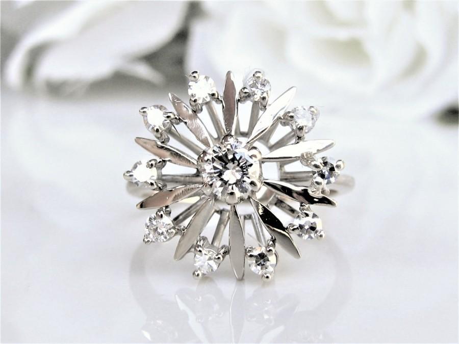Mariage - Vintage Retro Diamond Starburst Engagement Ring 0.55ctw Diamond Wedding Ring 14K White Gold Diamond Cluster Snowflake Anniversary Ring Sz 7