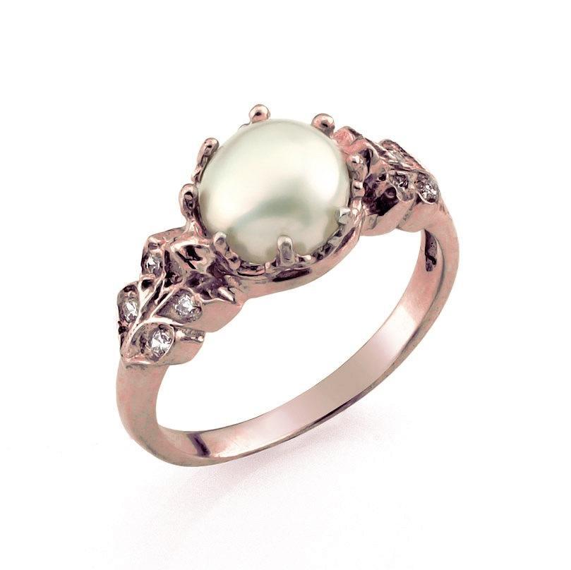 Mariage - 18K Rose Gold Pearl Ring, Rose Gold Engagement Ring, Pearl Wedding Ring, Pearl Engagement Ring, Rose Gold Jewelry, Pearl Jewelry