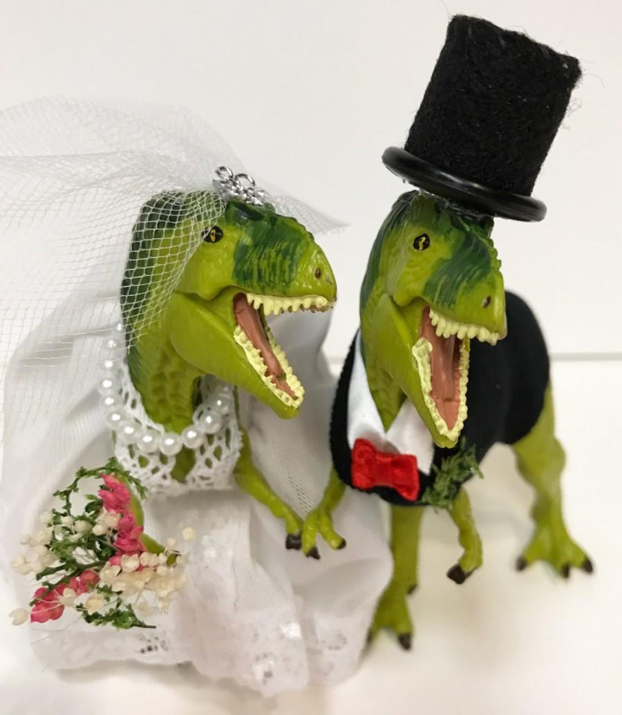 Custom Dinosaur Wedding Cake Topper, Animal Wedding Cake Topper T