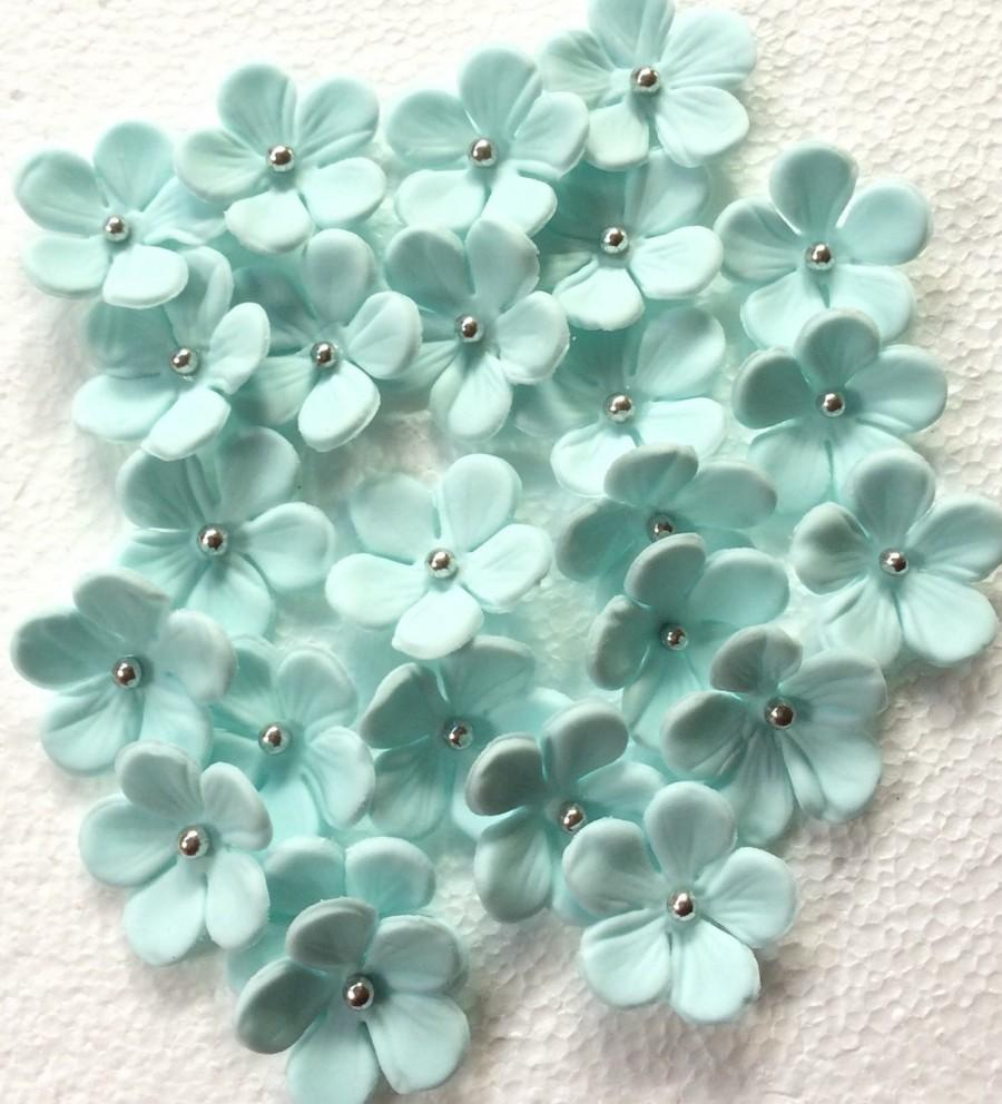 36 Fondant Flowers Edible Cupcake Toppers Flower Cake Decorations Topper Soft Blue Silver Blossom Hawaiian Tropical Sweet 16 Pop Birthday