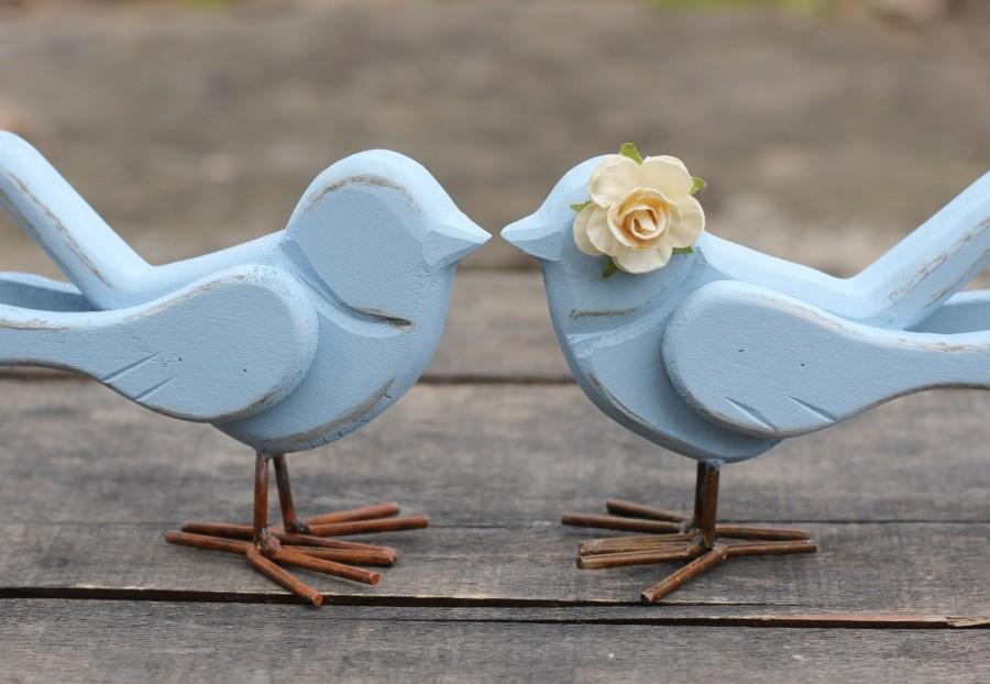 Mariage - Wedding Love Bird Cake Toppers Rustic Shabby Chic Weddings Custom Color