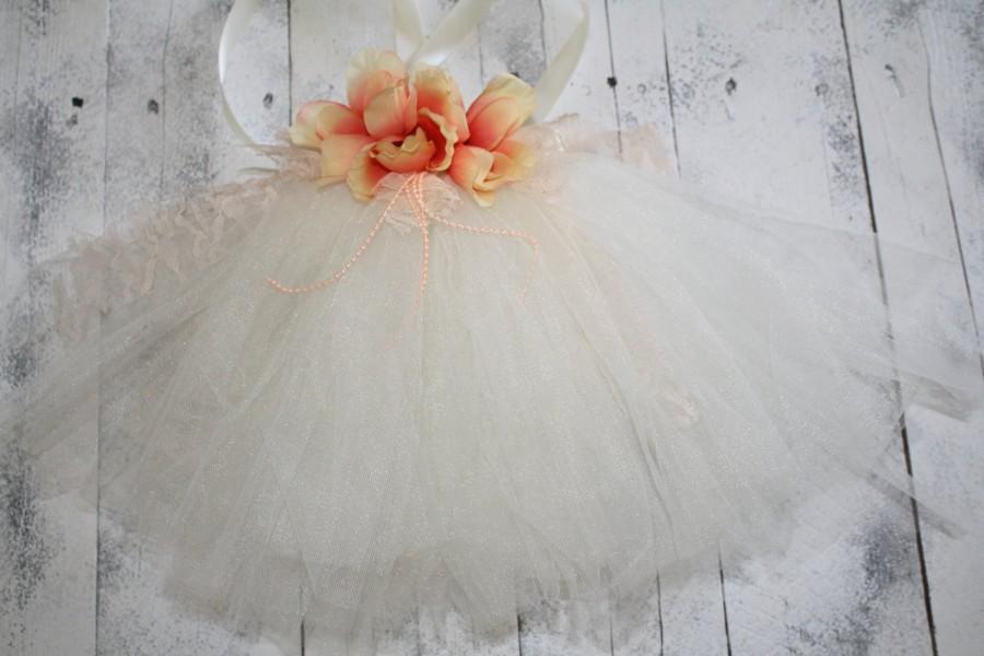 Wedding - Vintage Girls Ivory and peach, vintage, lace handmade tutu dress for flower girls, baptism,  newborn photoprop ,easter dress