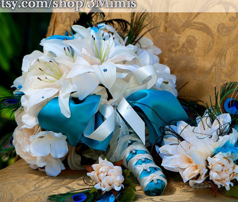 Tiger Lily Wedding Bouquet, Peony Bridal Bouquet, Teal And Ivory ...
